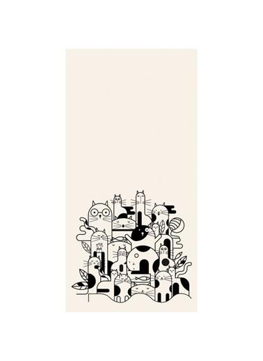 Artikel Siyah-Beyaz Kedi Ailesi Dekoratif Çift Taraflı Yastık Kırlent Kılıfı 45x45 cm Renkli